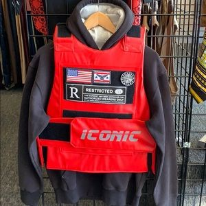 Bulletproof style vest in Red Urban Fashions vest